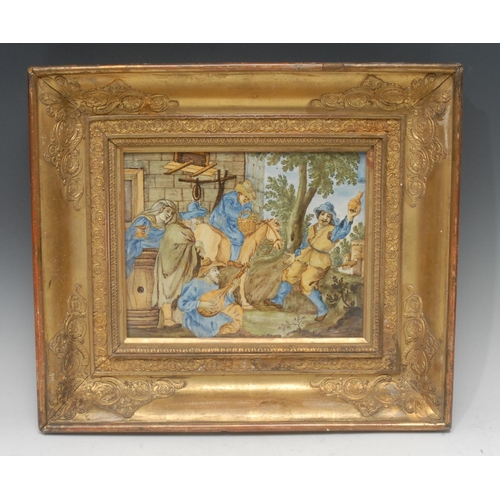 44 - An Italian majolica rectangular plaque, painted in the istoriato manner with tavern revellers, 20cm ...