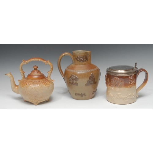 5 - A 19th century Chesterfield salt glazed stoneware teapot and cover,  fluted shoulder, stippled groun...