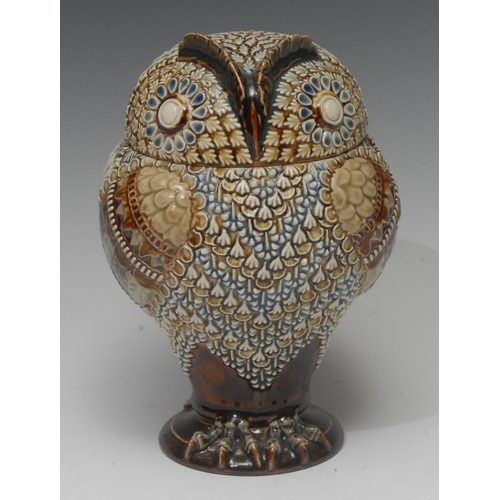 51 - A Doulton Lambeth stoneware  owl tobacco jar and cover, detachable head, in relief with stylised pol...