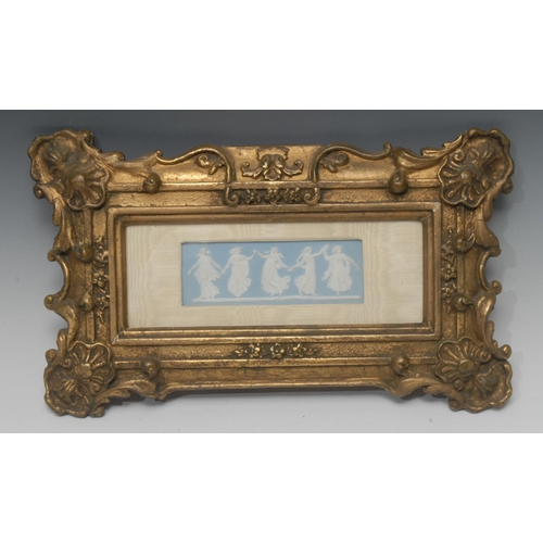 54 - A 19th century Wedgwood Jasperware rectangular plaque, with classical dancing maidens, on a light bl...