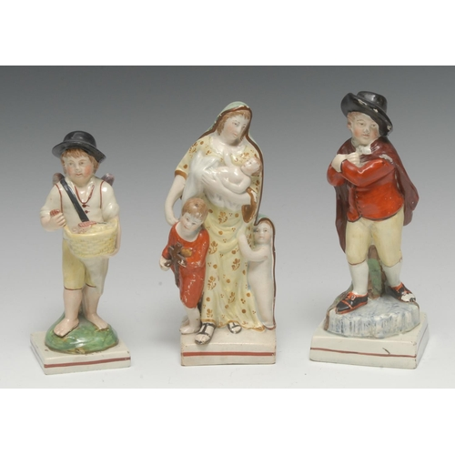 8 - A 19th century figure, Charity, she stands holding a baby, another under her cape, and one holding a...
