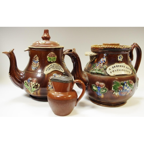 53 - A barge ware teapot `A present from Swalincote`; another `Mr and Mrs Millard, Rhodes Cottages, Clown...