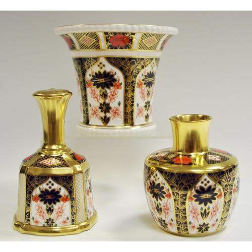 3 - A Royal Crown Derby 1128 cylindrical vase, everted rim, 12cm high; a Royal Crown Derby 1128 gold ban...
