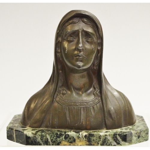 38 - A 19th century bronzed metal desk weight as a Madonna c.1880...