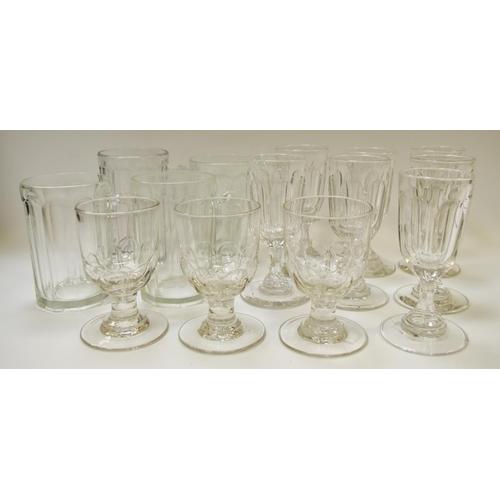 49 - Three glass rummers, circa 1800; four glass tankards; seven wine glasses...