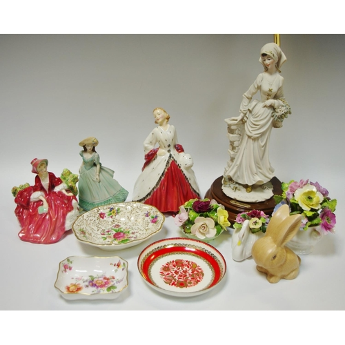 50A - Royal Doulton ``The Ermine Coat``; Lydia; A Bakari lamp vase; Coalport encrusted flower vases; etc...