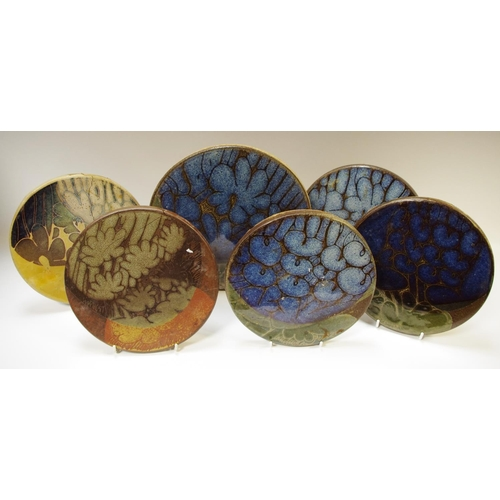 51 - Local interest - Crich pottery, various large Diana Worthy saucepan trivets with cork bases, various...