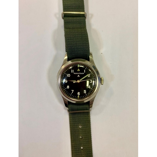 3013 - A 1948 Jaeger-LeCoultre stainless steel British Military mark 11 wristwatch, the matt black second g...
