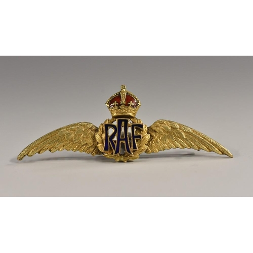 3035 - An early 20th century 9ct gold RAF sweetheart's brooch, of typical form, monogram and crown crest pi...