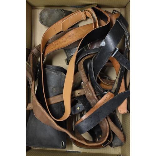 3059A - Militaria - various, belts; gas masks; utility pouches; etc