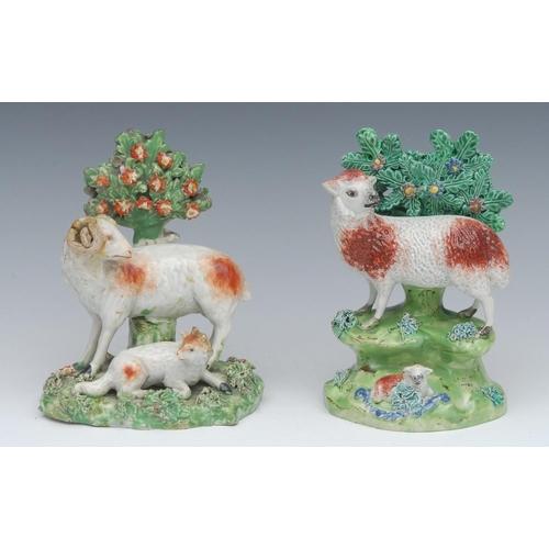1 - A  John Walton model, of a ewe and lamb before bocage, 16cm high, mark impressed on a scroll, c.1820...