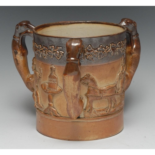 12 - A 19th century salt glazed stoneware ale tyg, in relief with tavern figures, brewers and a horse-led...