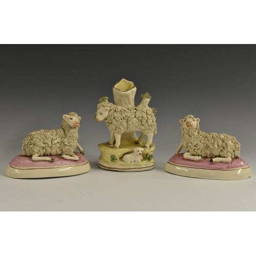 28 - A pair of Staffordshire pottery models, of sheep, recumbent to left and right, each decorated with s...