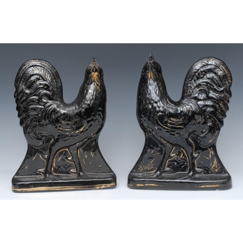 30 - A pair of Victorian Staffordshire Jackfield type cockerels, standing to the left and right, picked o...