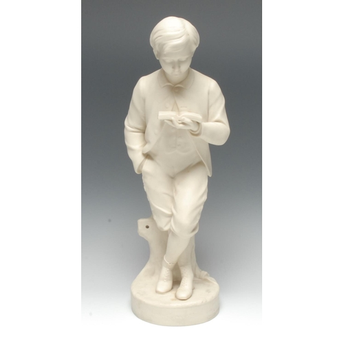 54 - A Copeland Parian figure, Young England, modelled by George Halse (1826-1895), as a young gentleman ...
