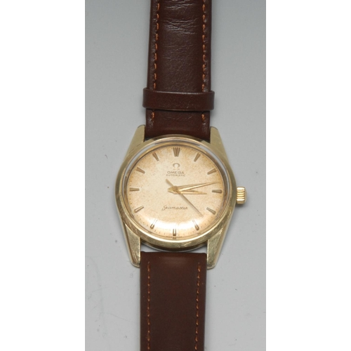 683 - An Omega Seamaster gentleman's wristwatch, 2.8cm dial with shaped batons, Swiss automatic movement, ...