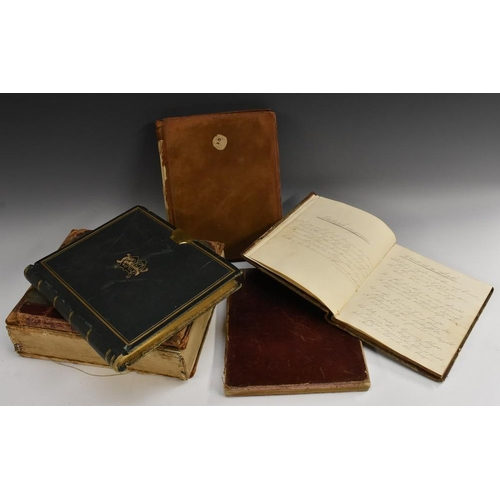 3625 - An early 19th century reverse calf school exercise book, volume 2 only, manuscript numbering to uppe...