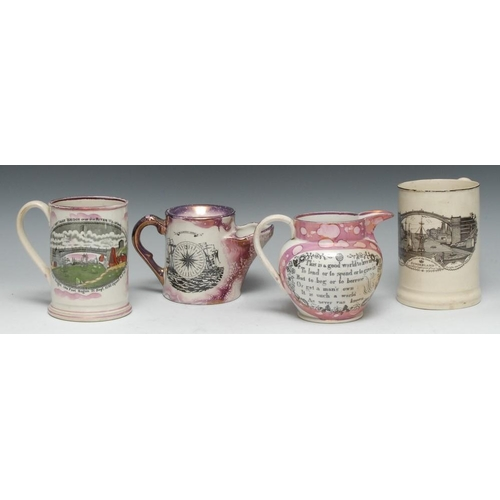10 - A late 18th century cream ware Frog mug, printed in black with West View of the Iron Bridge, the int...