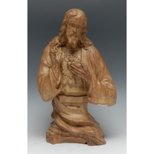 15 - A 19th century terracotta model, of Jesus Christ, 33.5cm high...