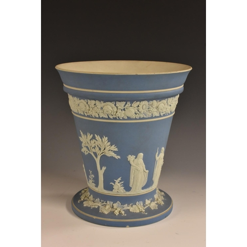 16 - A 19th century Wedgwood pale blue Jasperware tapered cylindrical potpourri vase, sprigged in the Neo...