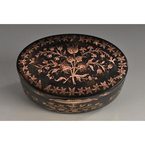 1695 - A 19th century oval rose metal inlaid tortoiseshell box, all over intricately inlaid with flowers an...