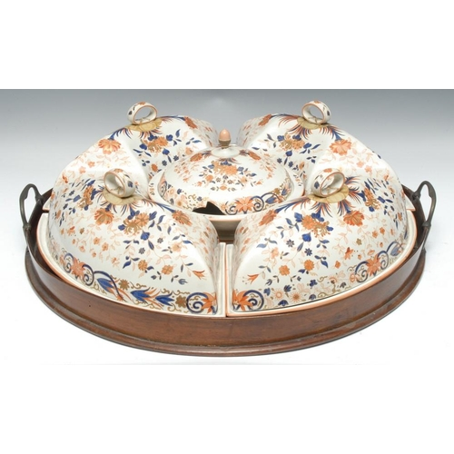17 - A 19th century Wedgwood breakfast set, comprising muffin dish and cover, four crescent shaped dishes...