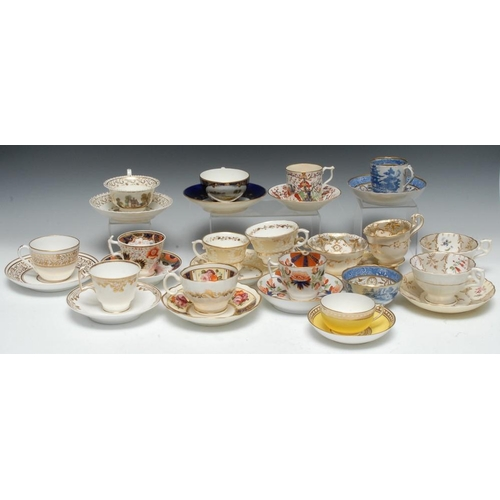 25A - Twelve various English porcelain teacups and saucer, comprising   four teacups, saucers and side pla...