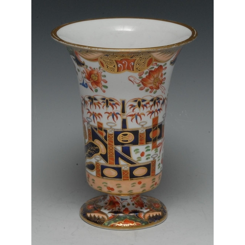 31 - A Spode trumpet shaped vase, decorated in the Imari palette, 16cm high, pattern 967...