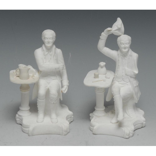 34 - A pair of Minton biscuit porcelain figures, Chelsea Pensioners, seated by tables, 15cm high, incised...