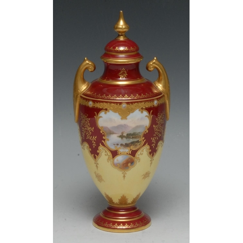 48 - A Coalport two handled ovoid vase and cover, painted with a landscape on a crimson and light yellow ...