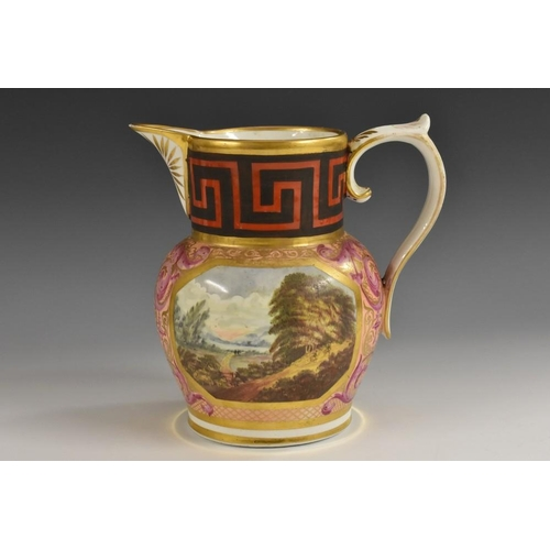 49 - A fine early Coalport jug, painted with two rural landscapes within a gilt cartouche, the salmon gro...
