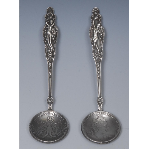 23 - A  Russian spoons, the haft cast wit a naked dancing lady, coin bowl, Vikor Vasilyevich Savinsky, Mo...