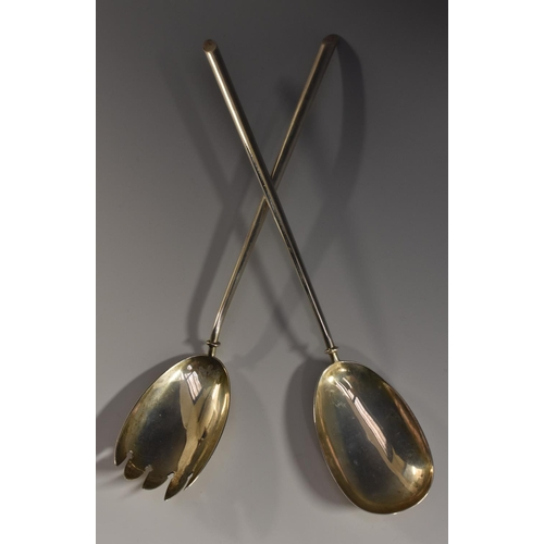 27 - A pair of late Victorian silver slip top salad servers, quite plain, 30cm long, Birmingham 1901...