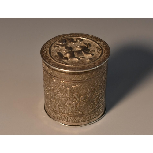 44 - A Chinese silver cylindrical bonbonniere, chased and engraved with animals in a landscape,sleeve-fit...