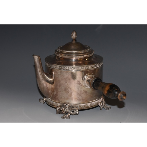 6 - A late 19th century E.P.N.S. cylindrical side-handled coffee or chocolate pot, pine cone finial, tur...