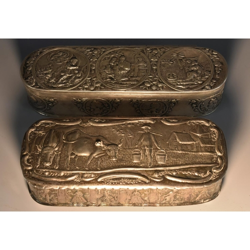 61 - A Dutch silver rounded rectangular tobacco box, hinged cover chased with scenes from the Bible, the ...