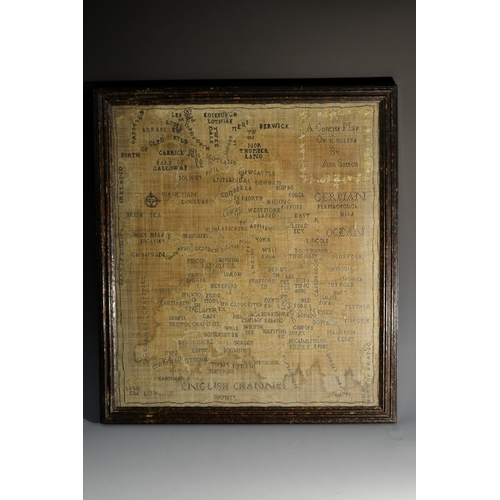 3390 - An early 19th century needlework map sampler, A Concise Map of England by Ann Sutton, profusely work...