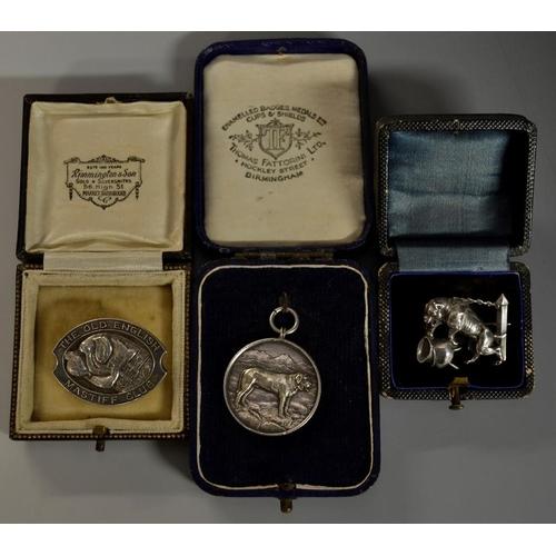 5447 - Canine Interest - an Elizabeth II silver badge, The Old English Mastiff Club, 3.5cm wide, Birmingham...