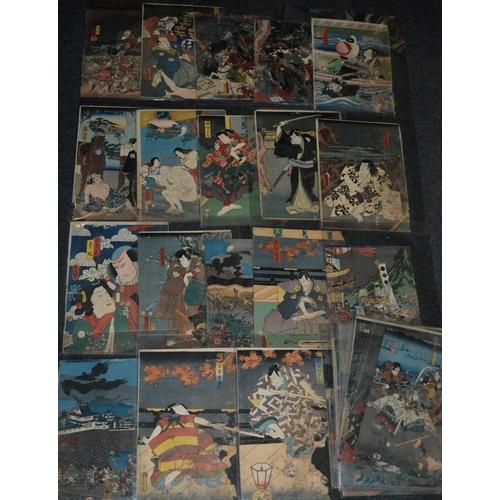 5833 - Japanese School (Meiji Period), Warriors of the Shogunate Advancing, hand-coloured woodblock print, ...