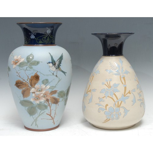 22 - A Langley Ware ovoid vase, impasto decorated with blue tit, flowers and foliage, in colours, pastel ...