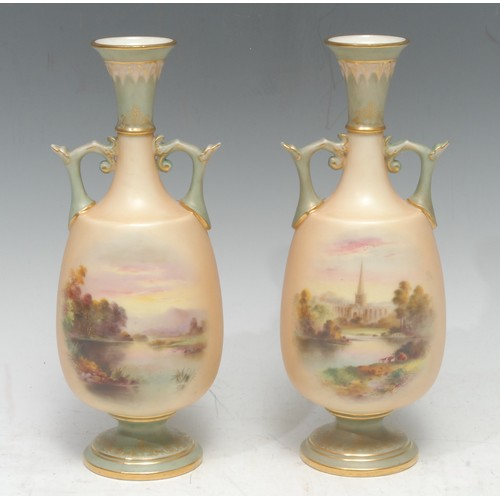 32 - A pair of Royal Worcester two handled vases,   each painted possibly by Harry Davis, with landscapes...