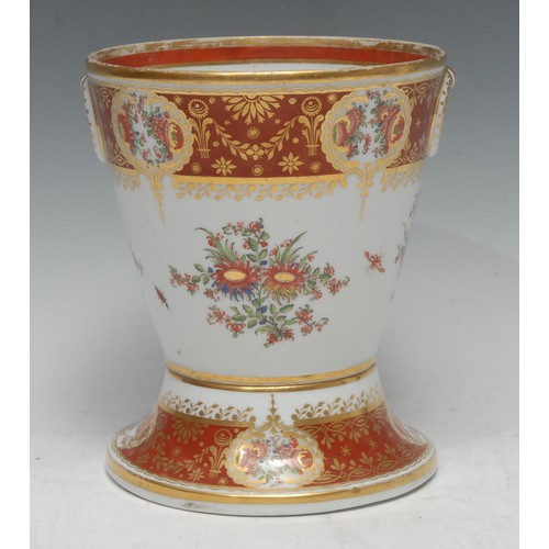 36 - A Chamberlain Worcester cache pot and stand, decorated with stylised flowers, banded in burnished or...