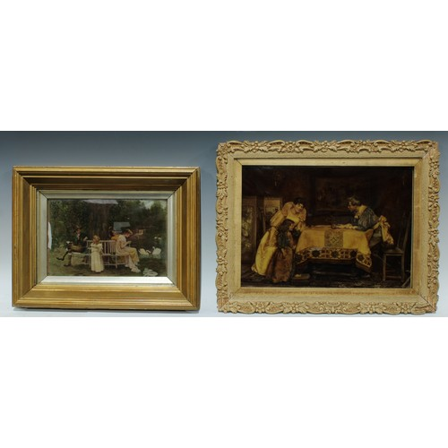 54 - A late 19th century chrystoleum, figures around a tree, 16cm x 26cm; another chrystoleum (2)...