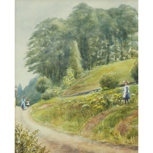55 - R W Pike, A Stroll in Darley Park, watercolour, signed; attributed to Barrett, The Boy Scouts Dilemm...