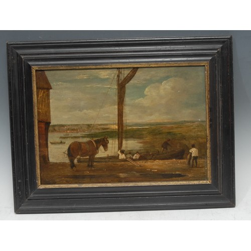 56 - Dutch School (18th century) Cart Horse Waiting on the Harbour oil on panel, 24cm x 35cm...