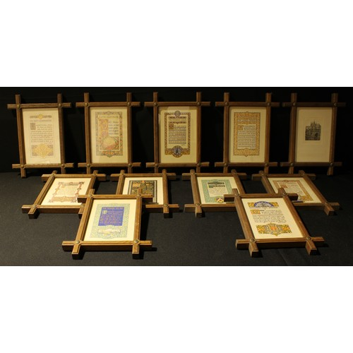 58 - Pictures & Prints - a set of ten Oxford oak framed Poem and Prayer prints, inc The Days Challenge, A...