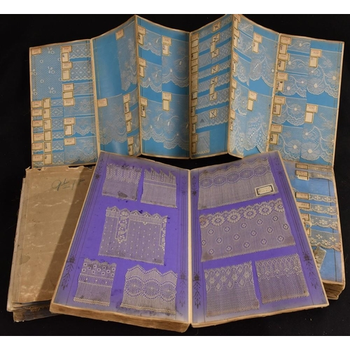 4116 - A folding volume containing an extensive collection of registered design samples of Nottingham machi...