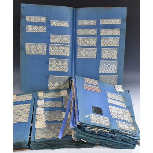 4123 - An album containing an extensive collection of design samples of Nottingham machine lace, many with ...