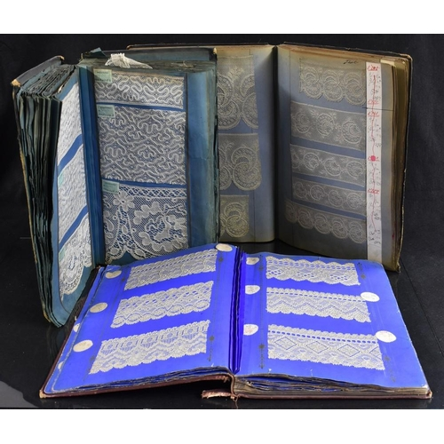 4124 - An album containing an extensive collection of registered design Nottingham machine lace samples, mo...