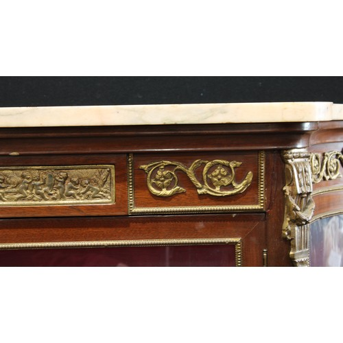 2 - A Louis XV style gilt metal mounted mahogany and Vernis Martin shaped serpentine vitrine, marble top...